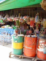 Larger gas station with Barrels from Thailand | by amanderson2