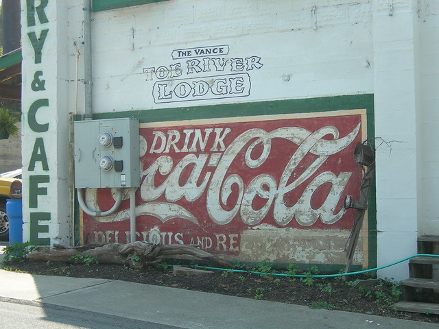 Coca cola mural on the side of vances toe river lodge in for Coca cola wall mural