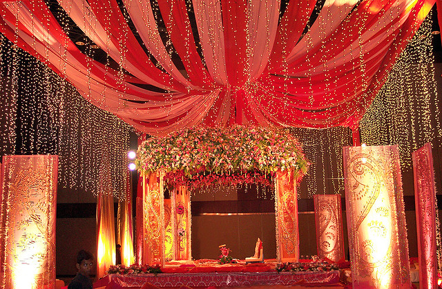 View Wedding Decor: Red And Gold Mandap View
