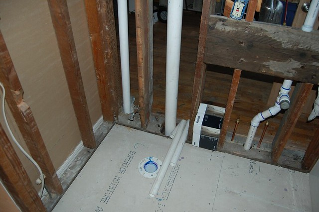 Plumbing Rough In 01 New Toilet Flange Vent Pipes And