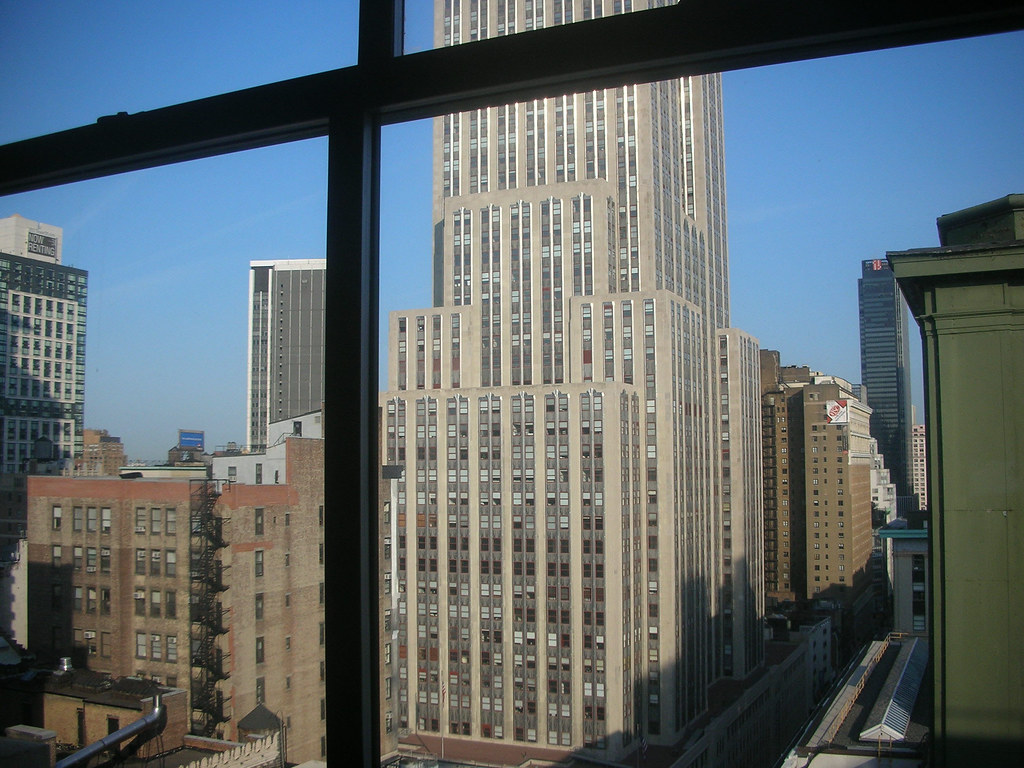 Window view empire state building bottom as seen from for 13th floor in buildings