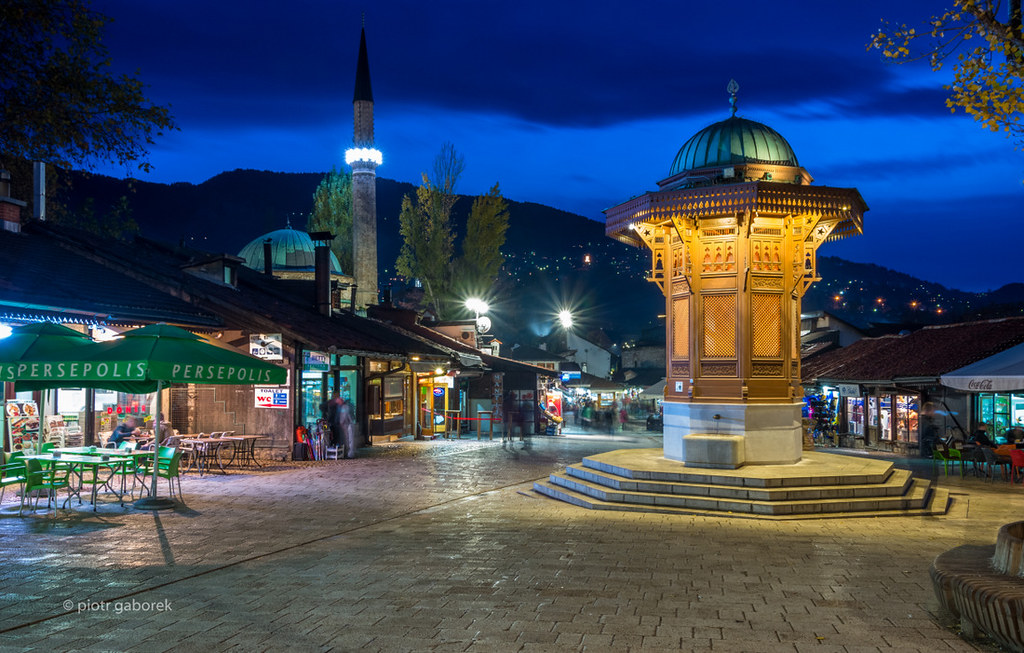 Baščaršija   Baščaršija square in Sarajevo with pseudo ...