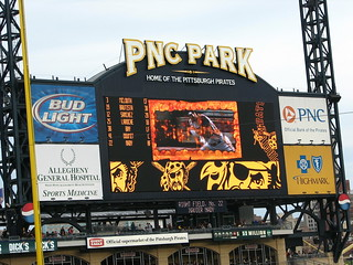 PNC Park scoreboard.. and it's captioned | by daveynin
