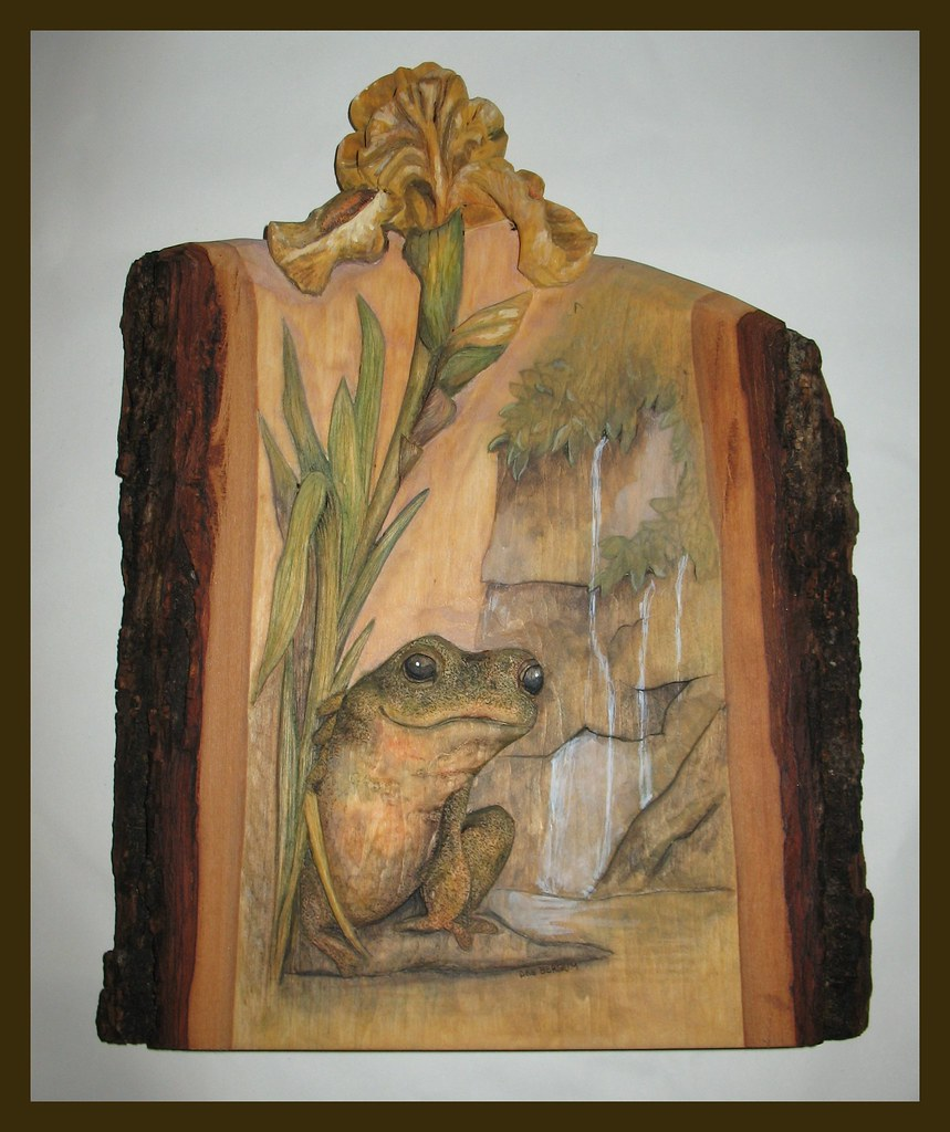Relief wood carving frog and iris deb bergum flickr