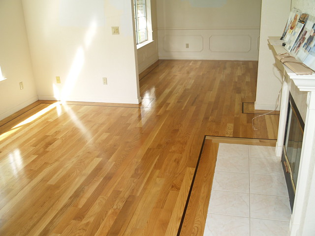 White Oak Hardwood Floor With Custom Walnut Border Inlay