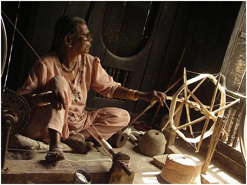 remembering gandhi #3, maheshwar   a women in the local ...