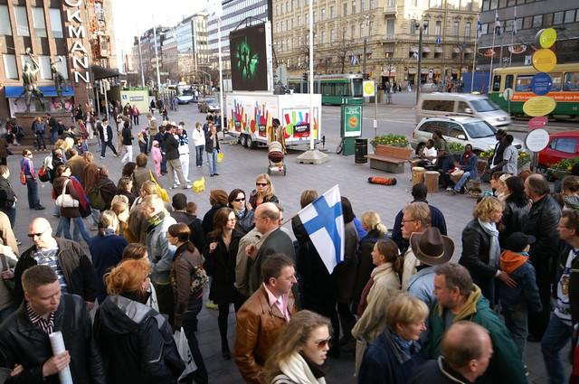 Una multitud en Helsinki