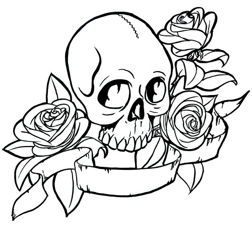 Skull and roses drawing | Awesome drawings | Pinterest ...