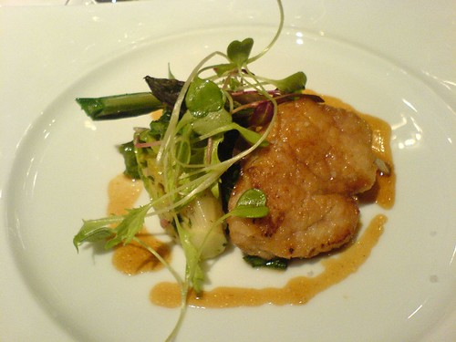 Pan-roasted sweetbreads with spring greens and asparagus | by clotilde