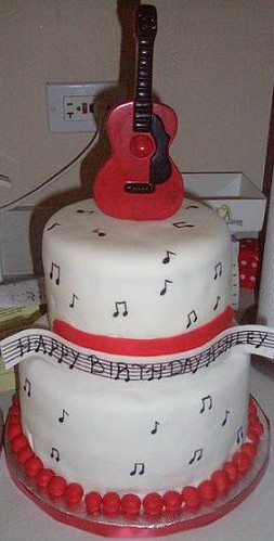 Guitar Cake Two Tier Cake Covered In Fondant The Guitar