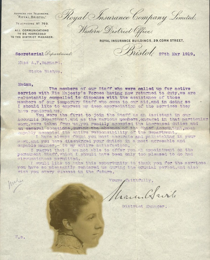 Barnard Job Termination Letter 1919 | Thanks You Have Done A… | Flickr