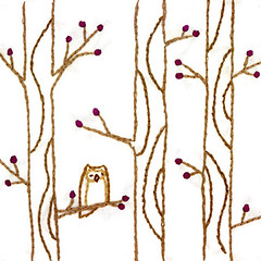 owl in trees embroidery | by merwing✿little dear