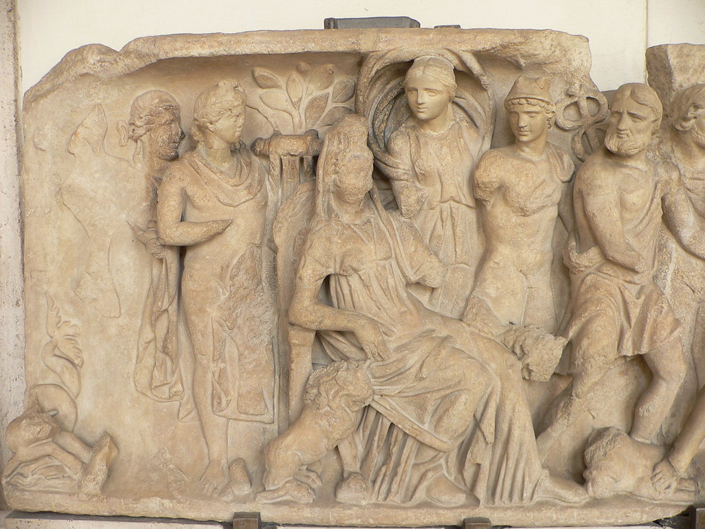 Relief carving from palazzo altemps the figures are