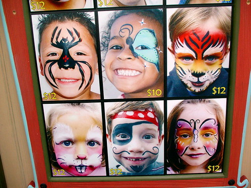 face painting examples on display at a disneyland face