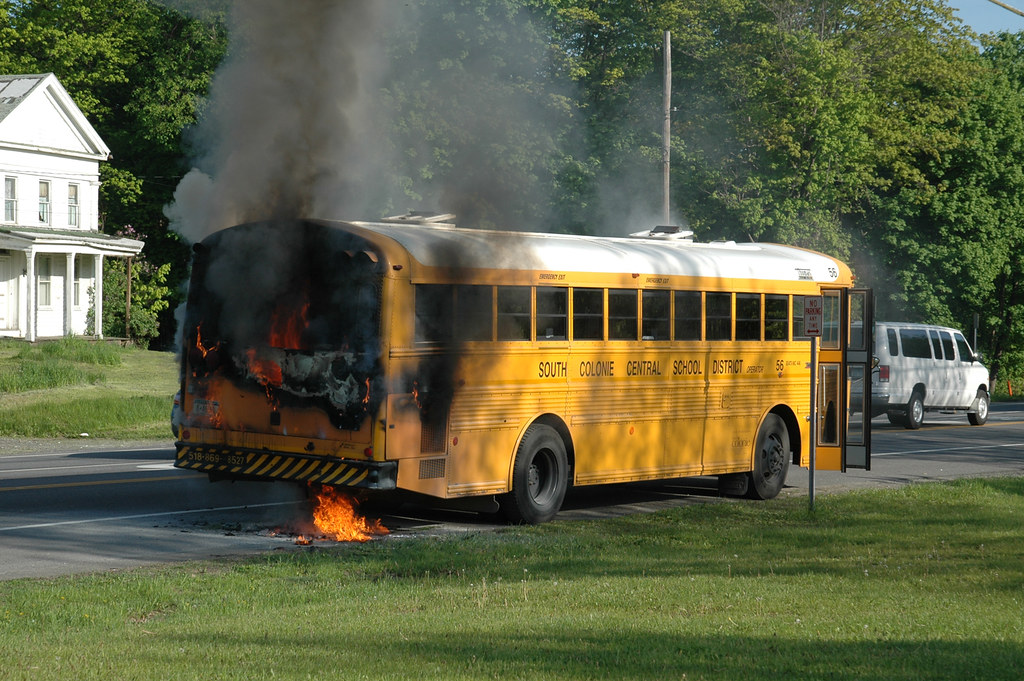 south bus school bus fire saw this south colonie school bus on fire flickr