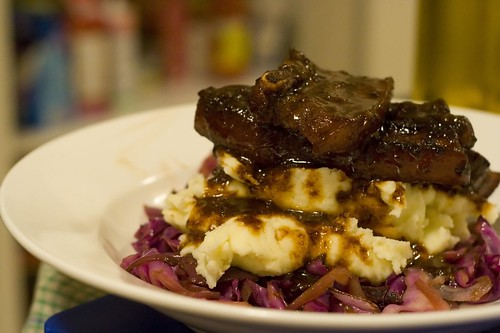 Star Anise Pork Belly on Mash with Red Cabbage | by Abstract Gourmet