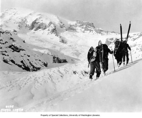 Members of the SOYP club hiking up slope, Mount Rainier National Park | by UW Digital Collections