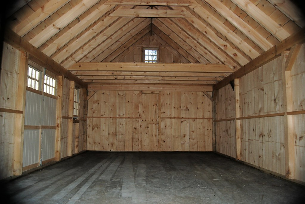 Salt spray sheds 16 x 24 nantucket boathouse interior flickr for Barn shed with loft plans