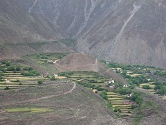 Terraced homes across the valley.