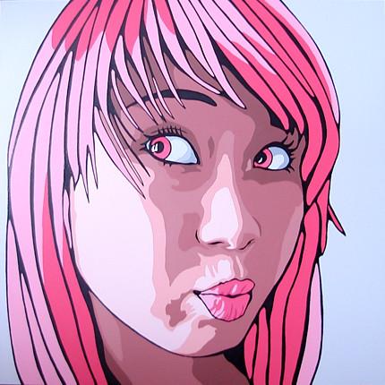 kate pink acrylic pop art portrait painting 24quot by 24