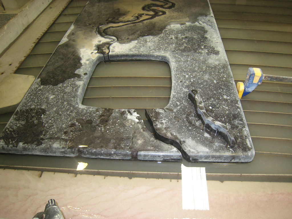 Our Granite Countertop Getting Water Jet Cut Channel Tha