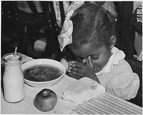 Public Domain: USDA: Praying Before School Lunch, 1936 by ...