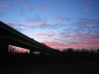 Sun setting behind the motorway | by wabson