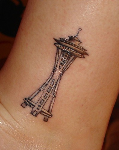 Space Needle Tattoo My Space Needle Tattoo On My Left Ankl Flickr