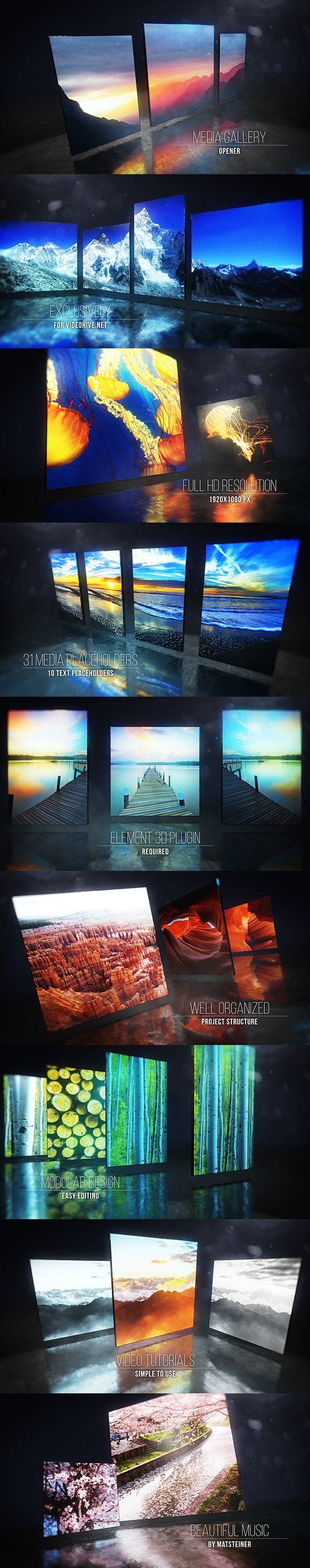 AE模板 E3D相册3维展示动画效果