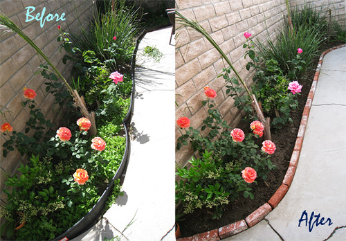Brick lined garden planter before and after | by ...love Maegan