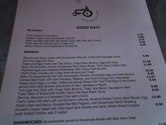 Boon Fly Cafe Thanksgiving Menu