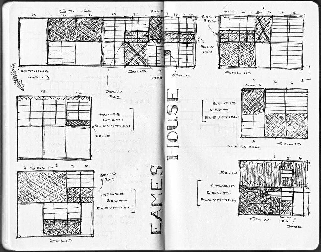 Moleskine 5 | All side elevations of the Eames House in ...  Moleskine 5 | A...