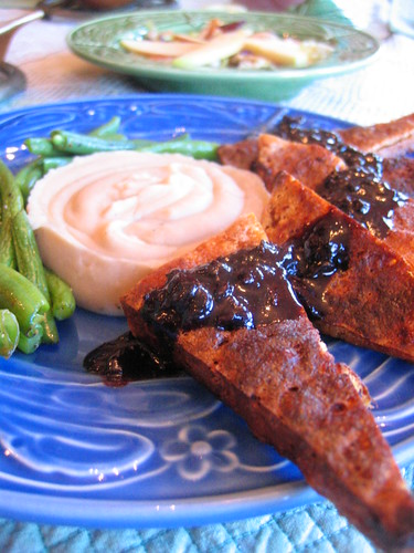 tofu with red wine sauce white_bean and roasted_garlic puree | by tofu666