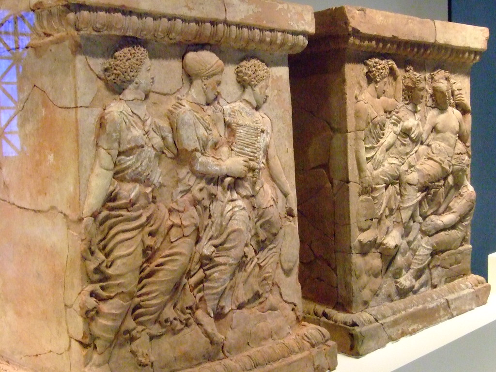Pair Of Altars With Aphrodite And Adonis Greek Made In Tar