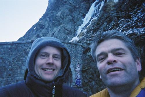 Mathias and Sean ice climbing