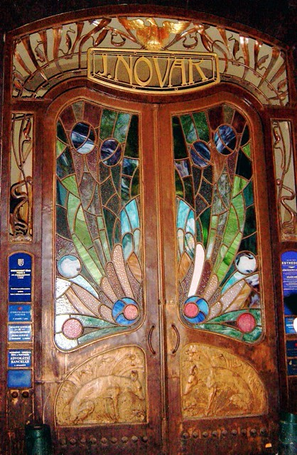 Praha 1 stained glass door on the brewery street in for Door z prague