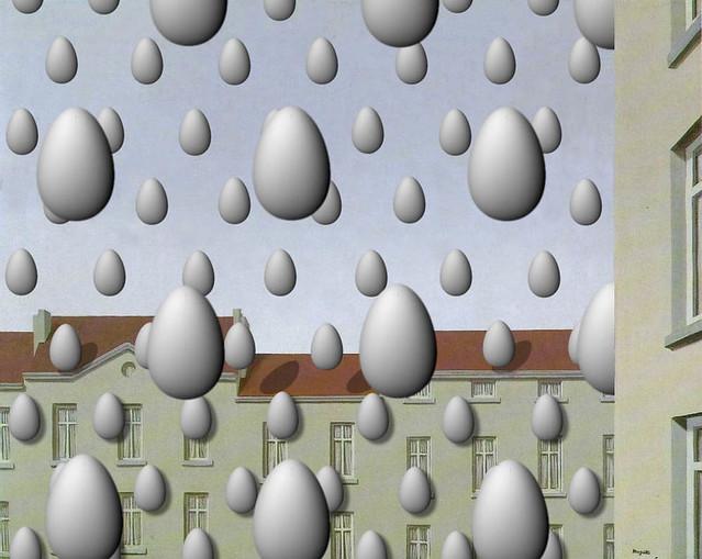 golconde egg art fake on ren magritte s golconde sergio