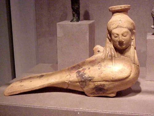 """Ceramic Vase in the form of a siren Greek 540 BCE 