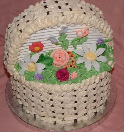 Basket Of Flowers Cake Design