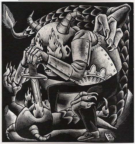 The Black Sheep boy fighting the dragon | by william schaff