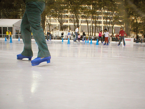 Blue Ice Skates in Bryant Park | by OldhaMedia