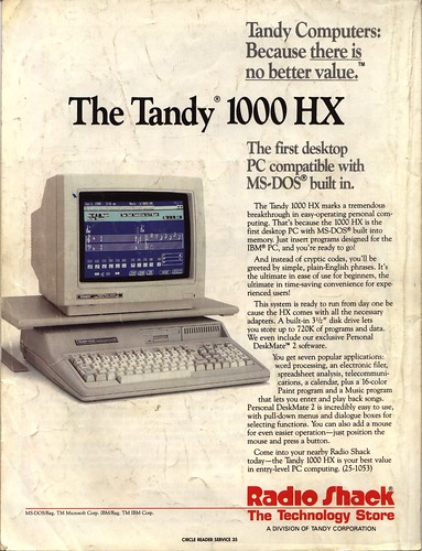 Tandy 1000 HX | A computer with MSDOS built in ...