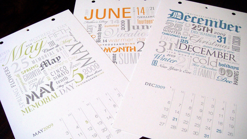 Calendar Typography Map : Typographic calendar sample of a few the months
