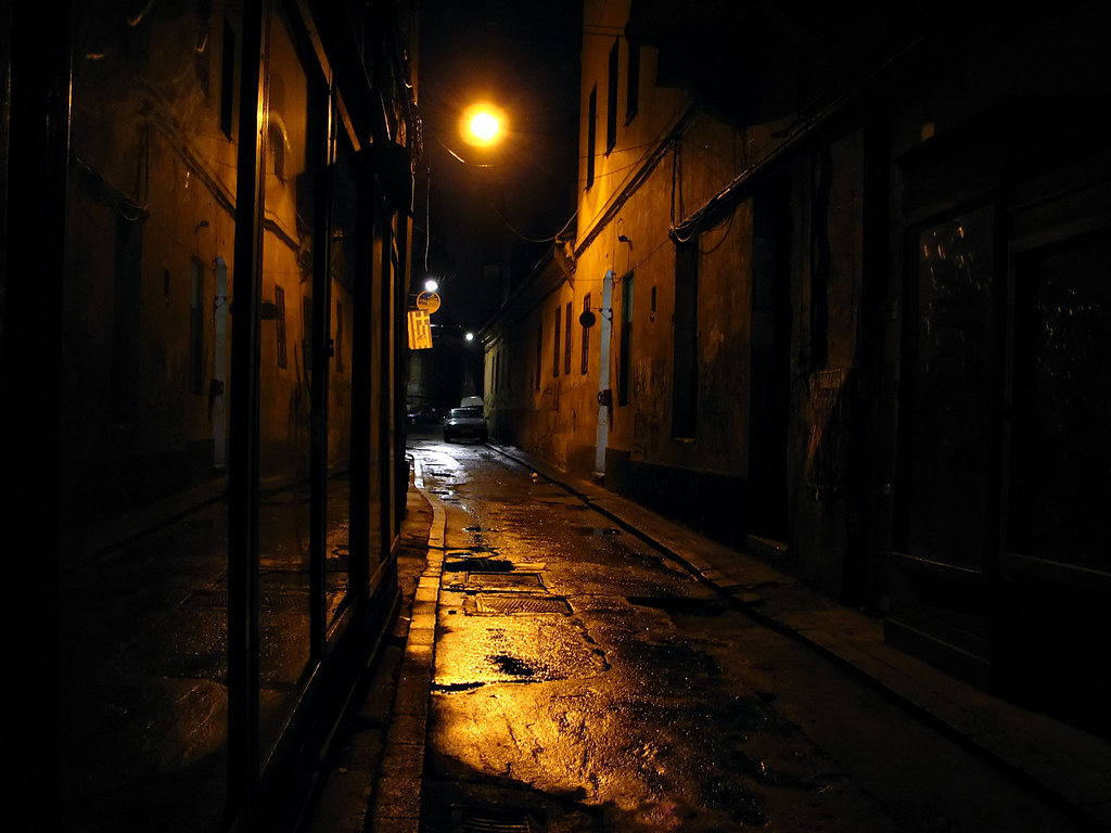 Woman Alone in a Dark Alley. Dangerous, scared.