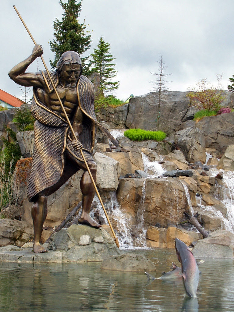 Fishing | A statue of a Native American spear fishing for ...