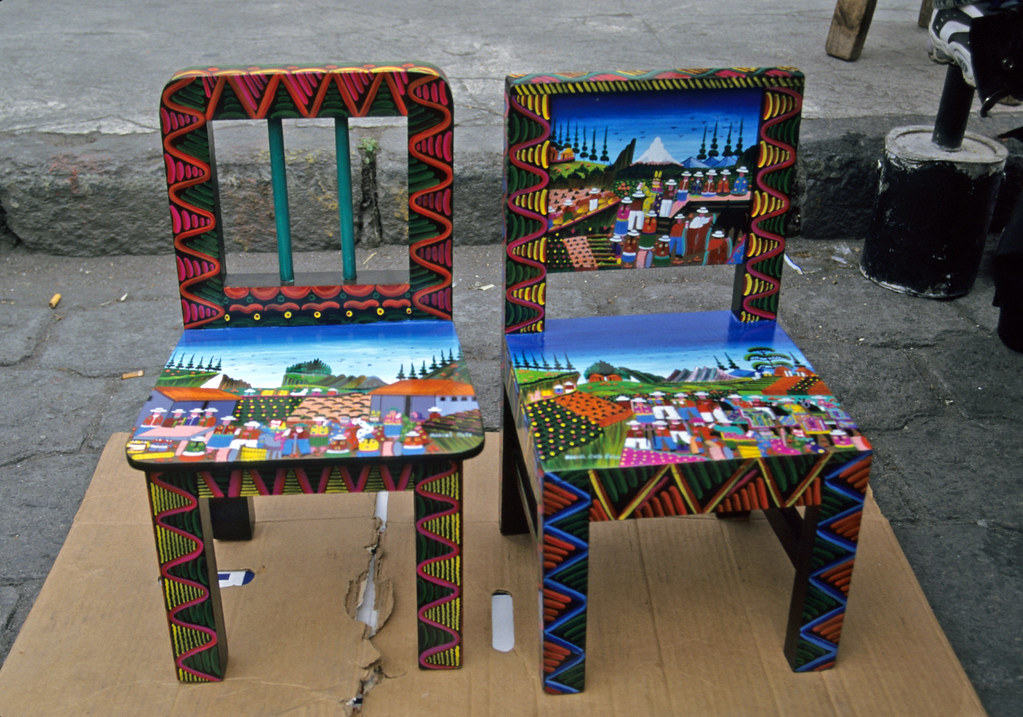 painted chairs two wood chairs painted in the quichua