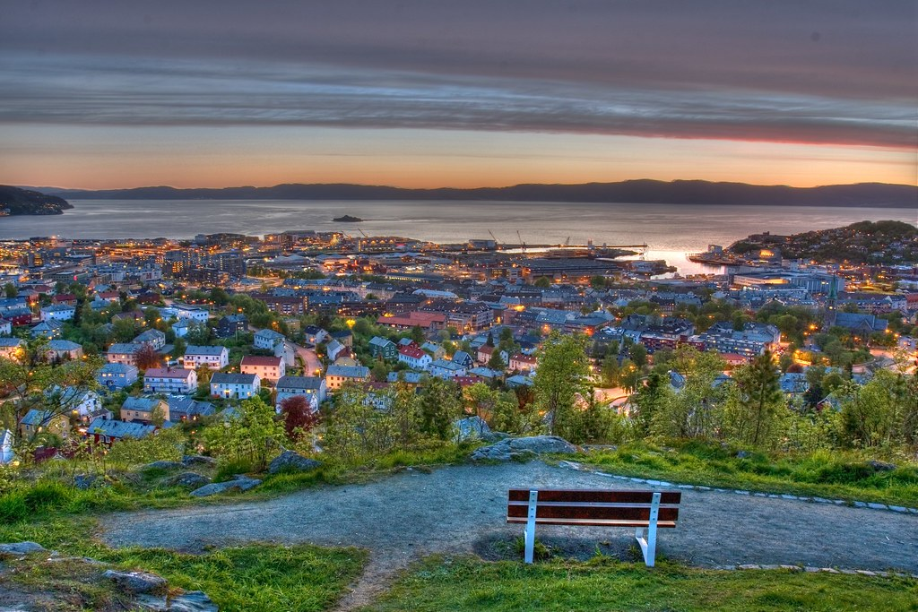 Trondheim By Night Picture Is Taken From Kuhaugen A