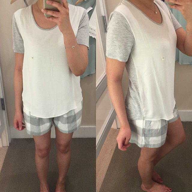 LOFT Fluid Tee in frosted heather (size SP) & Lou & Grey Checked Shorts (size XS)