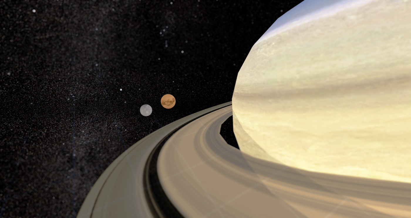 Saturn, its rings and two of its moons