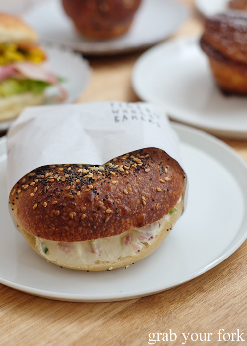 Bagel with bacon and cream cheese at Pigeon Whole Bakers in Hobart Tasmania